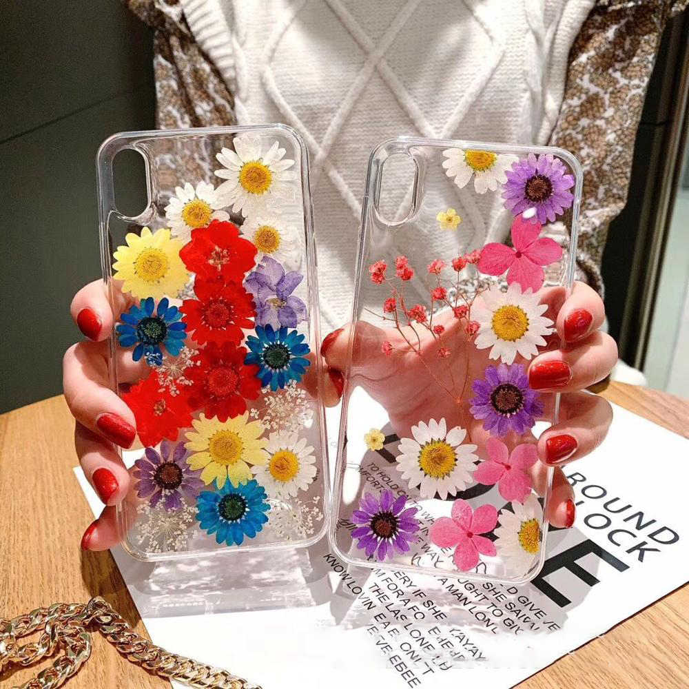 For Iphone 11 Pro 7 8 Real Flower Transparent Floral Phone Case For Iphone 11 Pro Max X XS 6 6s 7 8 Plus soft Silicone Cover