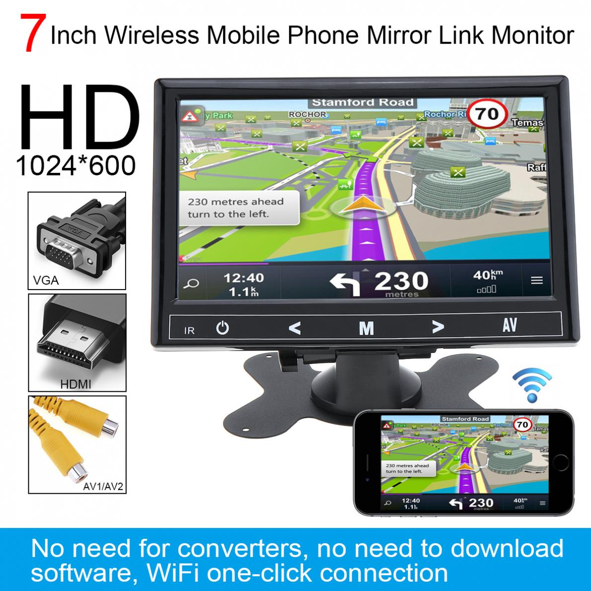 7 Inch HD IPS 1024 600 TFT LCD Color Multifunction Car Headrest Monitor support HDMI VGA
