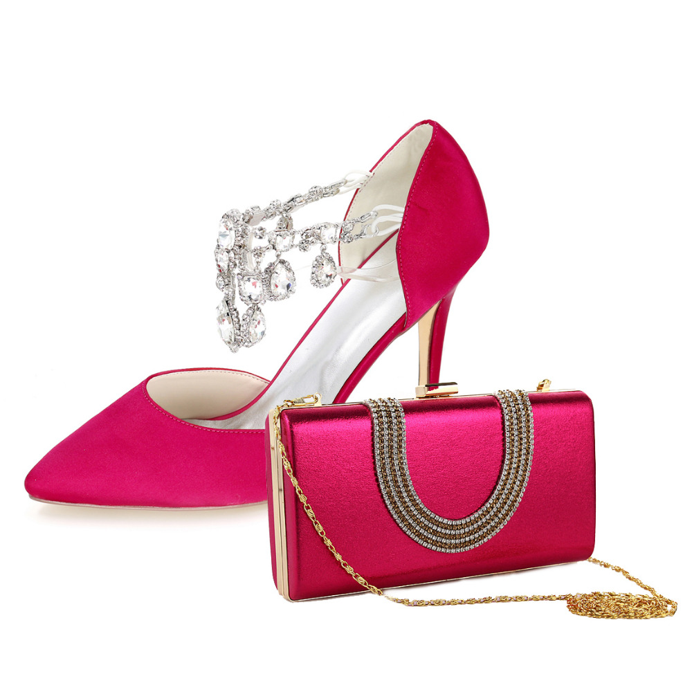 Hot pink sexy elegant crystal band woman pumps pointed toe high heel bridal shoes with matching clutch bag for wedding party redmond ri s220