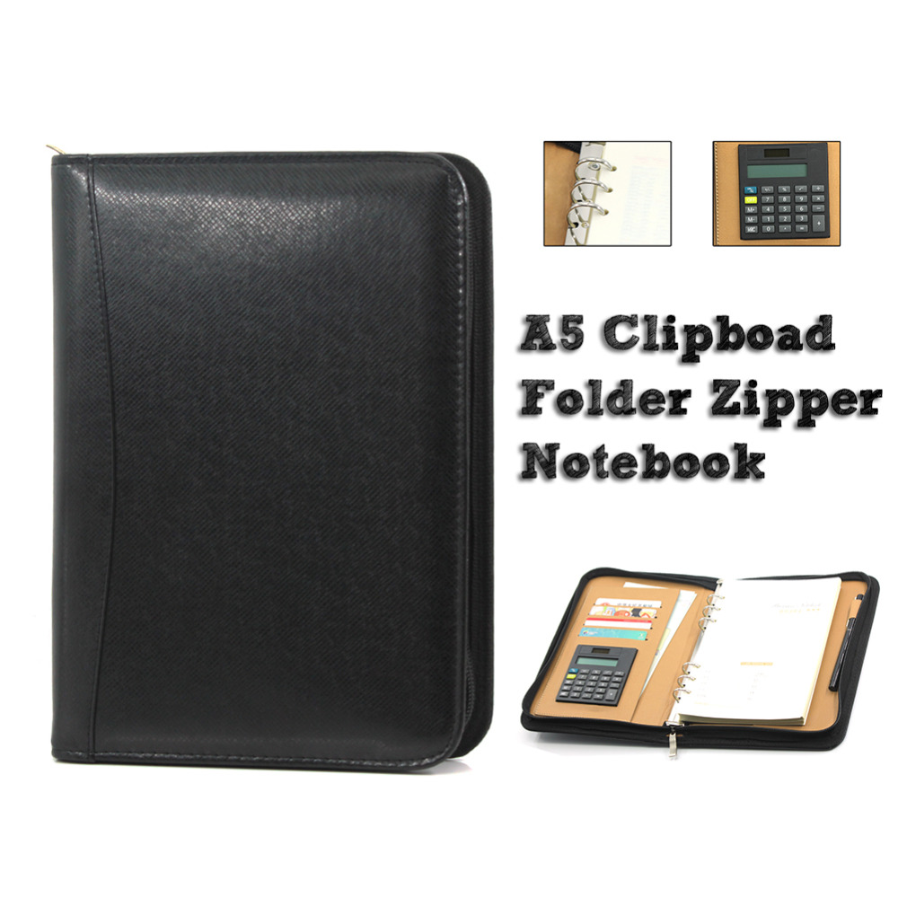 A5 Clipboard Folder Portfolio Zipper Binder Spiral Notebook Multi-Function Leather Organizer with Calculator Office Manager Clip a4 manager folder multifunction leather office folder includes 12 bit calculator clipboard business organizer folder