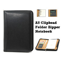 A5 Clipboard Folder Portfolio Zipper Binder Spiral Notebook Multi Function Leather Organizer With Calculator Office Manager