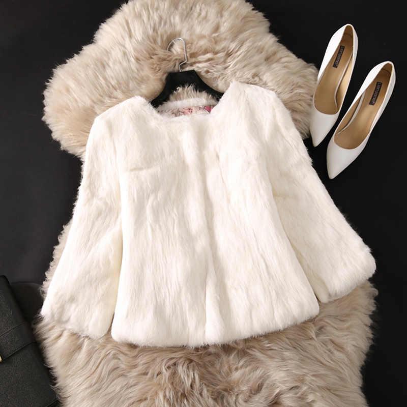 2019 Mới Thật Tự Nhiên Lông Thỏ Áo Khoác Nữ Thật 100% Lông Thỏ Áo Khoác Miễn Phí Vận Chuyển Thấp Bán Chất Lượng Thật Thỏ bộ lông Khoác Ngoài