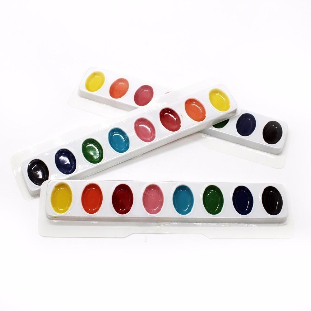 3 piezas Tres juegos de pintura de acuarela sólida 8 principiantes - Escuela y materiales educativos