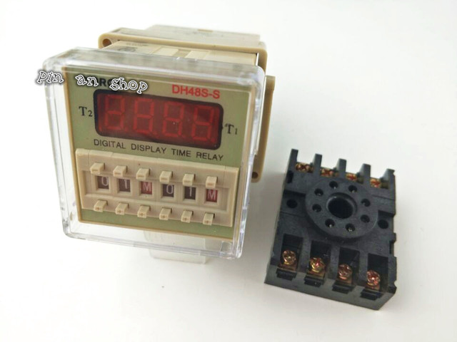 US $4.0  DH48S S AC 220V repeat cycle SPDT time relay with socket DH48S Off Delay Relay Wiring Dh S S on