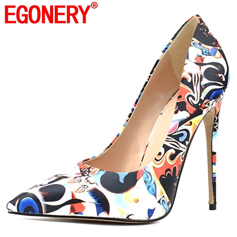 3cb2cb496d EGONERY hot sale women shoes 2019 spring new fashion sexy pointed toe party  women pumps 12 cm thin heels shallow plus size shoes