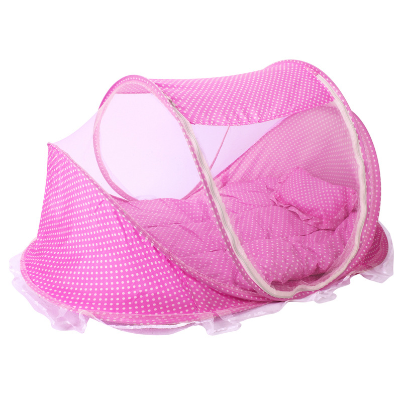 Baby Bedding Crib Netting Folding Baby Mosquito Nets Bed Mattress Pillow Three-piece Suit For 0-2 Years Old Children