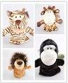 Высокое качество, 4 шт./лот, 25 см большой размер, 4 стиль: Лев/Тигр/Олень/Орангутанг куклы, Детские Плюшевые Игрушки, Ручной Куклы, Говорить реквизит
