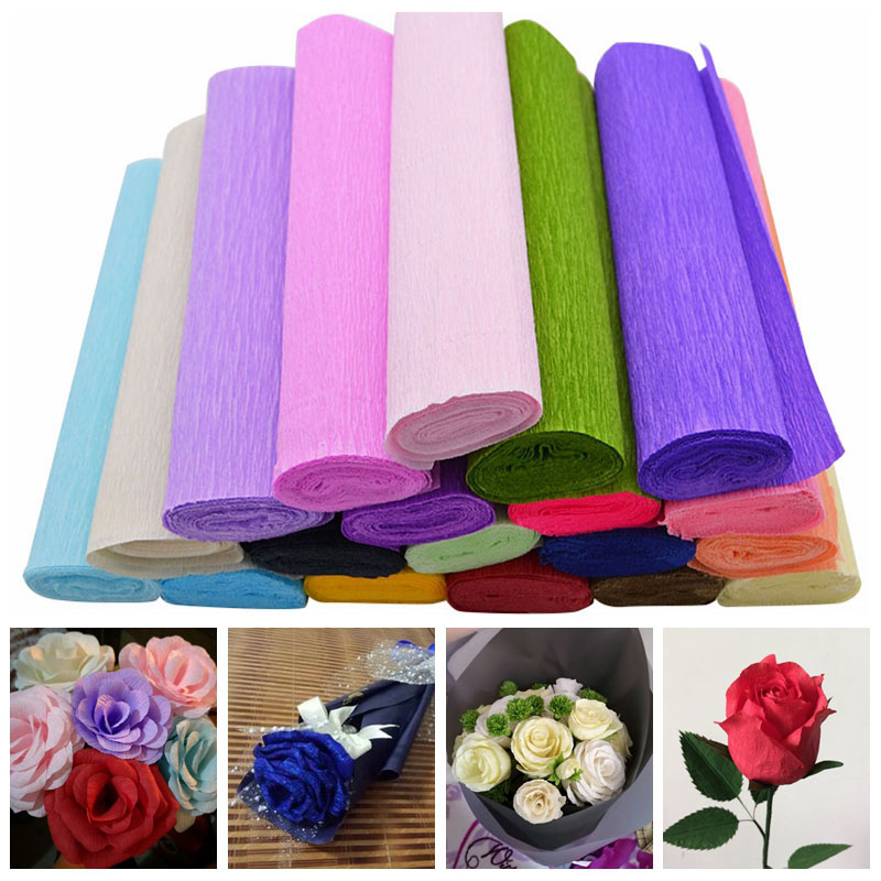 250x25cm 1 Roll DIY Flower Making Crepe Papers Wrapping Flowers Gifts Packing Material Handmade Diy Wrapping Paper Craft Decor