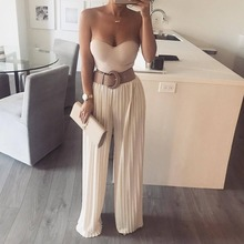 Women Pants Pleated Wide Leg High Waist Elastic Trouser Solid Color Office Elagant Female