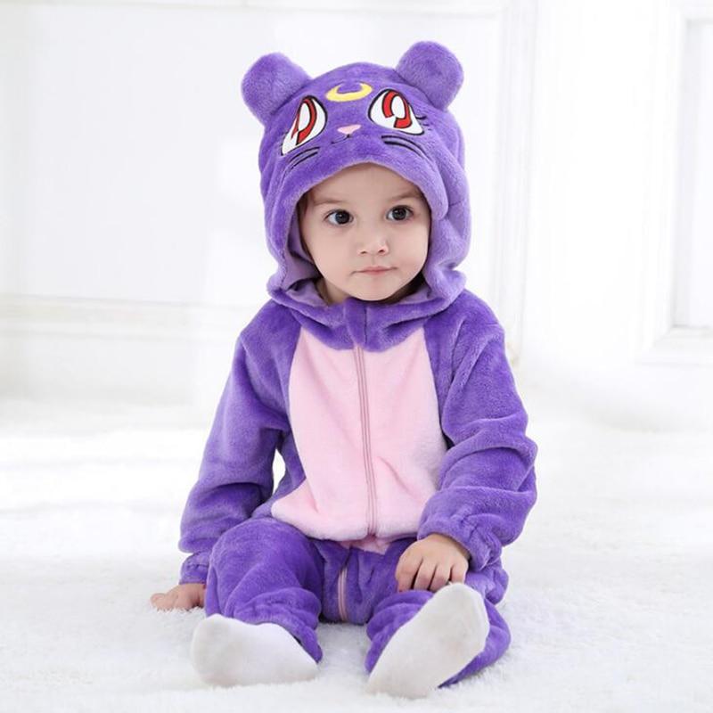 Newborn Babe Kigurumi Sailor Moon Diana Purple Luna Cat Cosplay Costumes Cartoon Flannel Infant   Romper   Onesies Pajamas Sleepwear