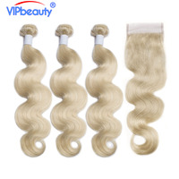 Vip beauty Brazilian body wave 3 bundles with closure remy hair extension blond color 613 bundles with closure