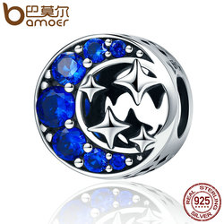 BAMOER Fashion New Authentic 925 Sterling Silver Star & Moon Legend Clearly CZ Beads fit Women Bracelets DIY Jewelry Gift SCC184