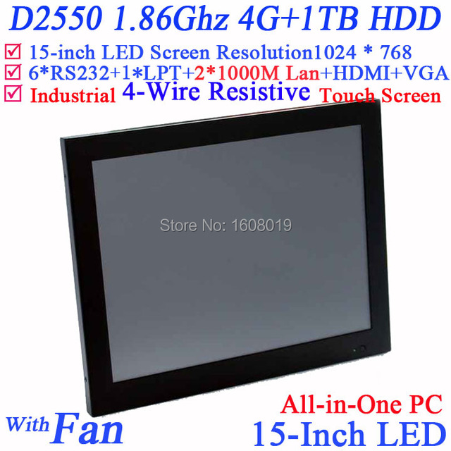 15 inch LED Industrial 4-wire resistive touch screen POS system with Intel D2550 1.86G 1024*768 HDMI 2*RJ45 6*COM 4G RAM 1TB HDD