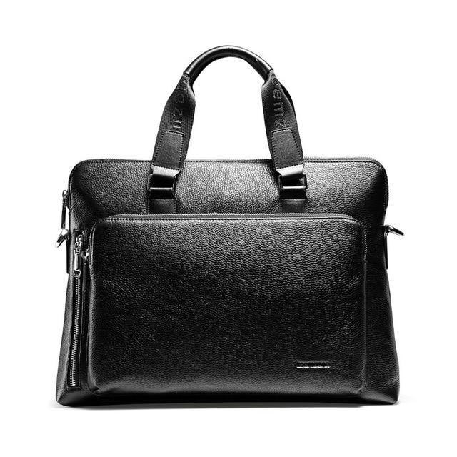 "teemzone Document Zipper Laptop Genuine Leather Briefcase Business Man 14"" Laptop Portfolio Executive Briefcase Lawyer Bag T0823"