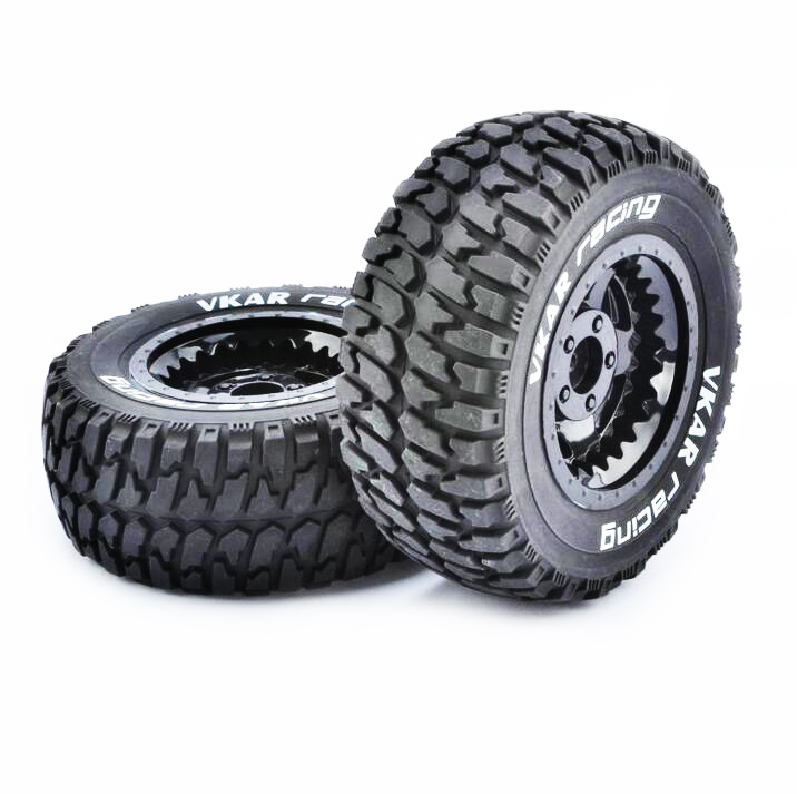 4PCS 1/10 Short Course Desert Off-road Tires VKAR Tire Wheels 12mm Adapter 108mm Spare Parts For RC Car Model 4pcs set rc parts 12mm hex bead loc short course ruber tire rims for hpi hsp rc 1 10 traxxas slash