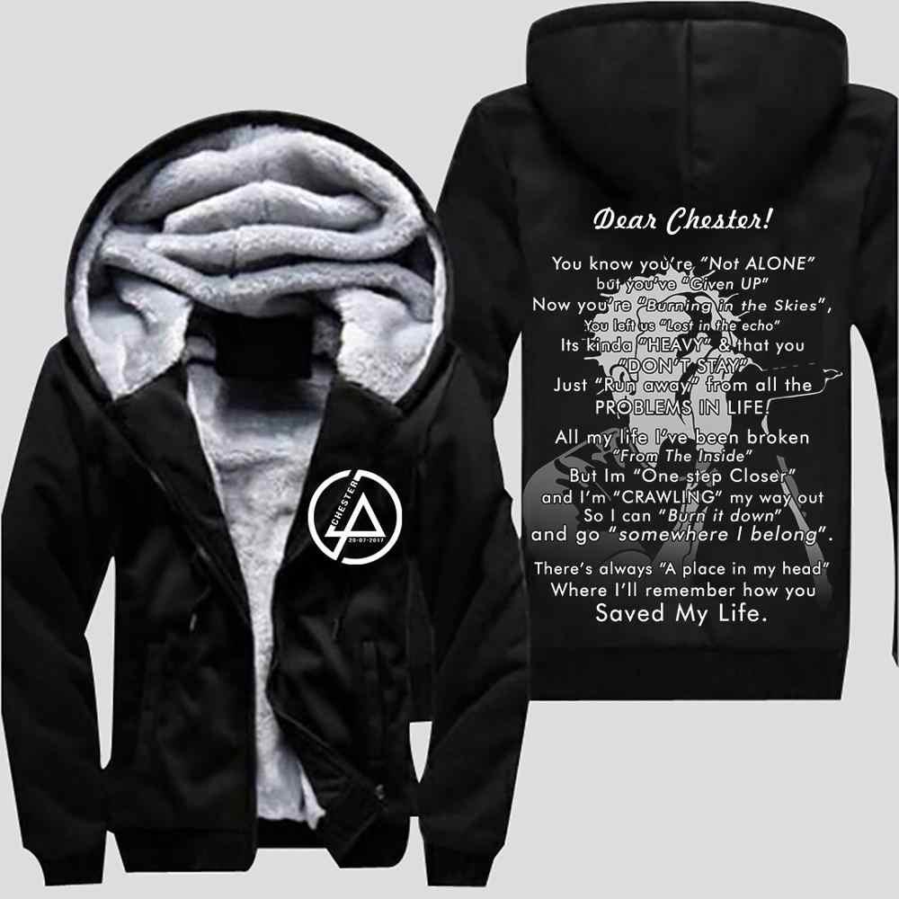 2018 hot Linkin park chester felpe con cappuccio uomo felpa autunno inverno velet spessore del rivestimento del cappotto