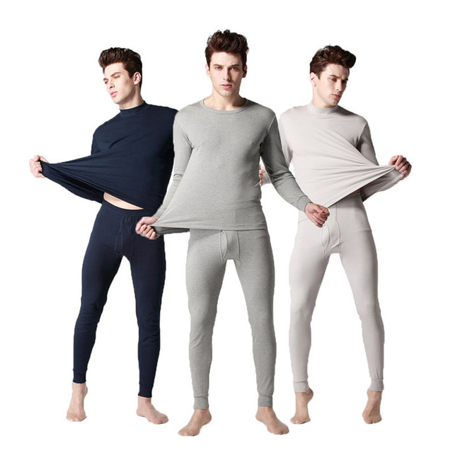 Alta Qualidade 100% Algodão Homens Ceroulas Definir Baixo Colarinho Cueca homens Definir Moda Confortável Long John Homens Terno Plus Size 3XL