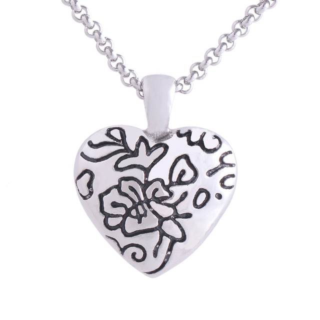 Lace Flower Heart Urn Necklace