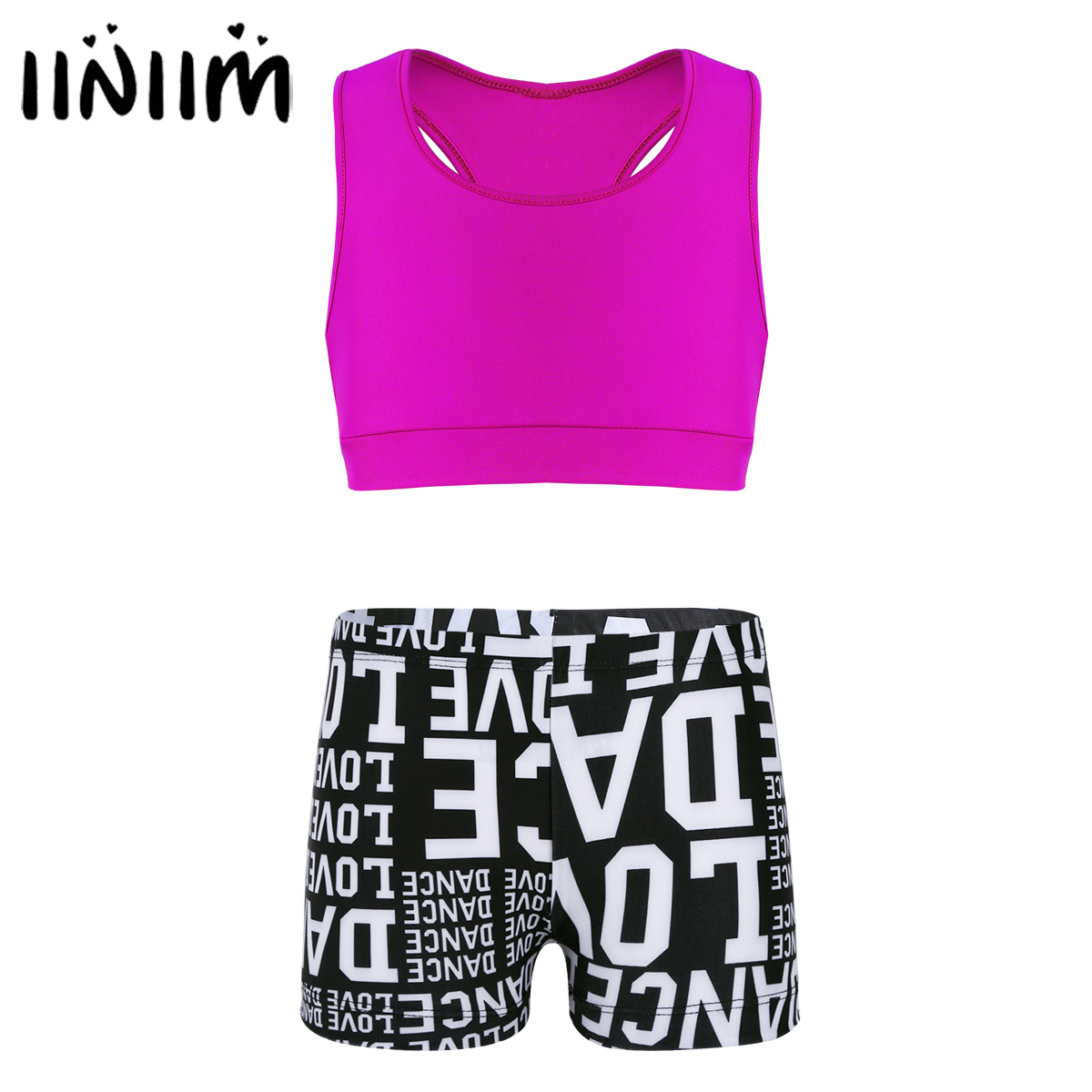 Girls Tankini Outfit Tank Top with Letters Printed Bottoms Set for Ballerina Leotard Dance Kids Body Shorts Outfit Party Sets