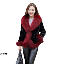 Fur coat new female mink coat 2017 fashion mink hair faux fur coat casual hair collar Slim plus size womans faux fur coat hot new fur coat 2017 nightclub fashion man made sleeves with a hat hat raccoon big faux fur coat jacket size womans faux fur coat