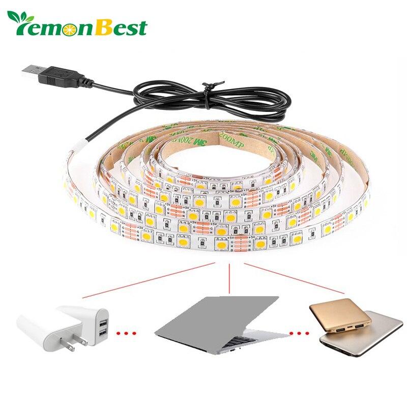 USB Cable LED Christmas stripe light lamp 5V SMD3528 5050 30 leds 60 LED 120 LED Flexible Strip Light TV Background Lighting Kit