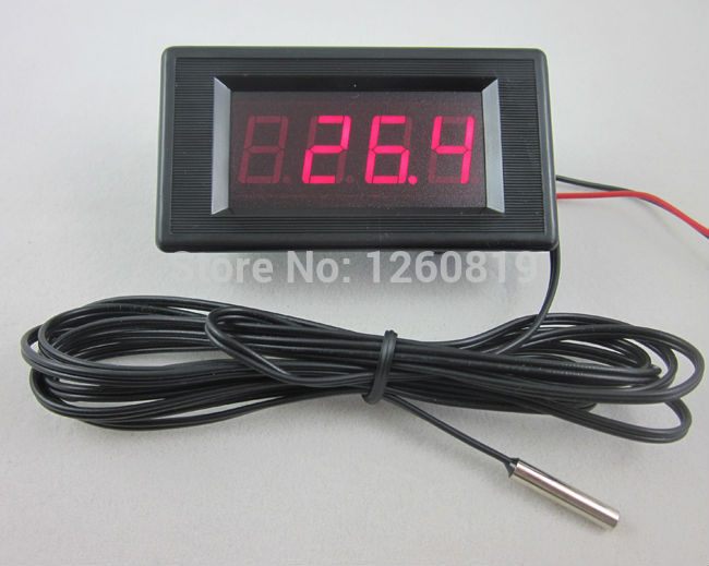 dc 12v red digital thermometer high low alarm 60 125c temperature 2m stainless probe. Black Bedroom Furniture Sets. Home Design Ideas