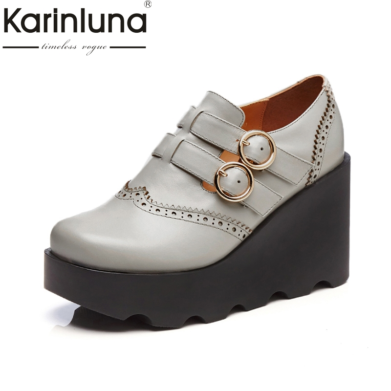 KARINLUN genuine leather Size 34-39 Platform Women Shoes Woman buckle strap Wedges High Heels black gray Shoes Date Footwear woman fashion high heels sandals women genuine leather buckle summer shoes brand new wedges casual platform sandal gold silver