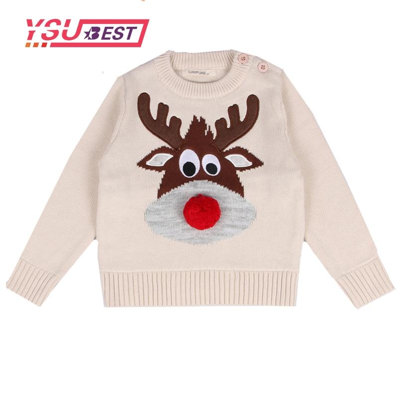 1-5 Jahre Mädchen Pullover Baby Pullover Kleidung 2019 Frühjahr Stricken Weihnachten Claus Deer Cartoon Kind Baby Junge Mädchen Pullover HüBsch Und Bunt