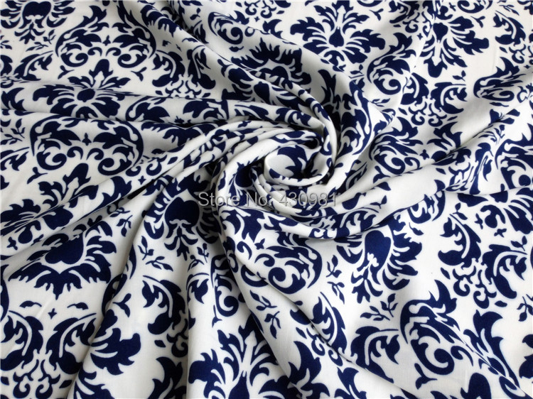 ethnic blue white damascus pattern cotton rayon material for ...