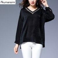 Autumn Winter Blouse V Neck Full Sleeve Solid Black Irregular Hem Spring Shirt Women S Top