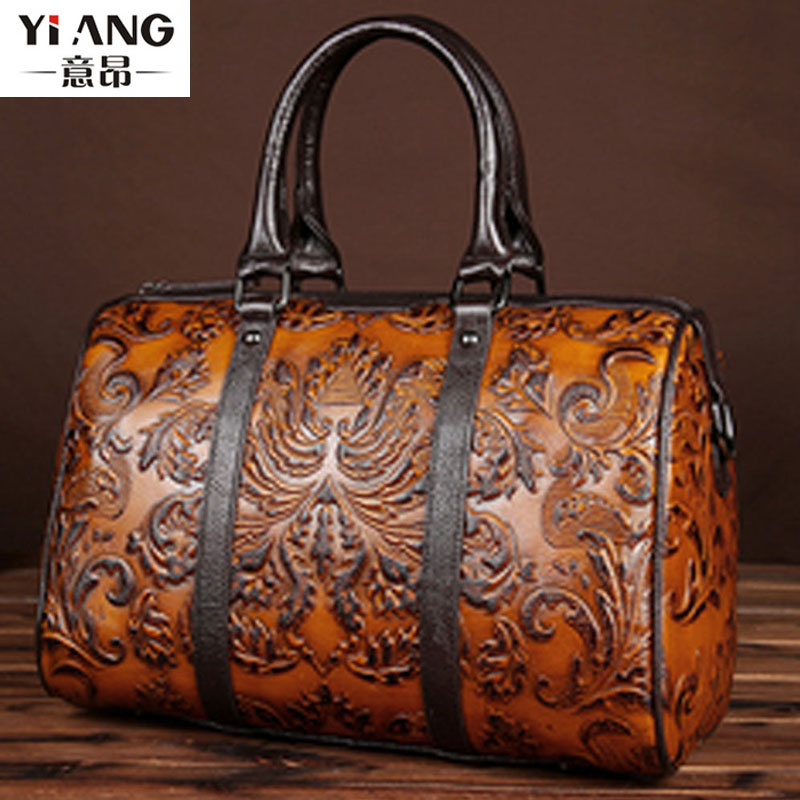 2018 Vintage Trend Women Genuine Leather Tote Bag Casual Crossbody Messenger Shoulder Bags Famous Brand Embossed Cowhide Handbag women vintage trend genuine leather embossed tote bag casual crossbody messenger shoulder bags famous brand cowhide handbag