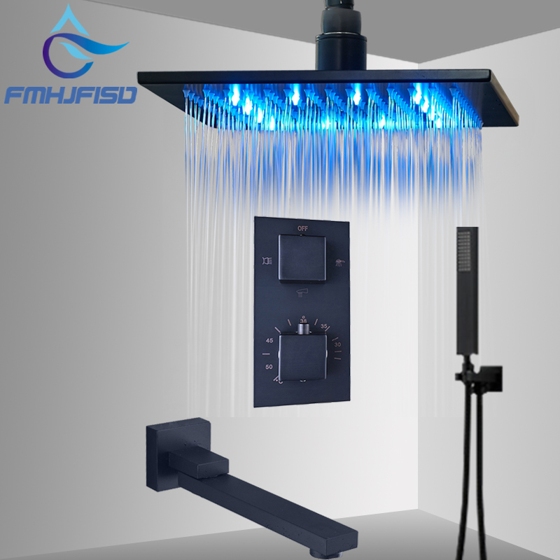 Concealed Bath Shower Faucet Thermostatic LED Bathroom Faucet Sets Brass Top Over Sprayer with Rotate Spout