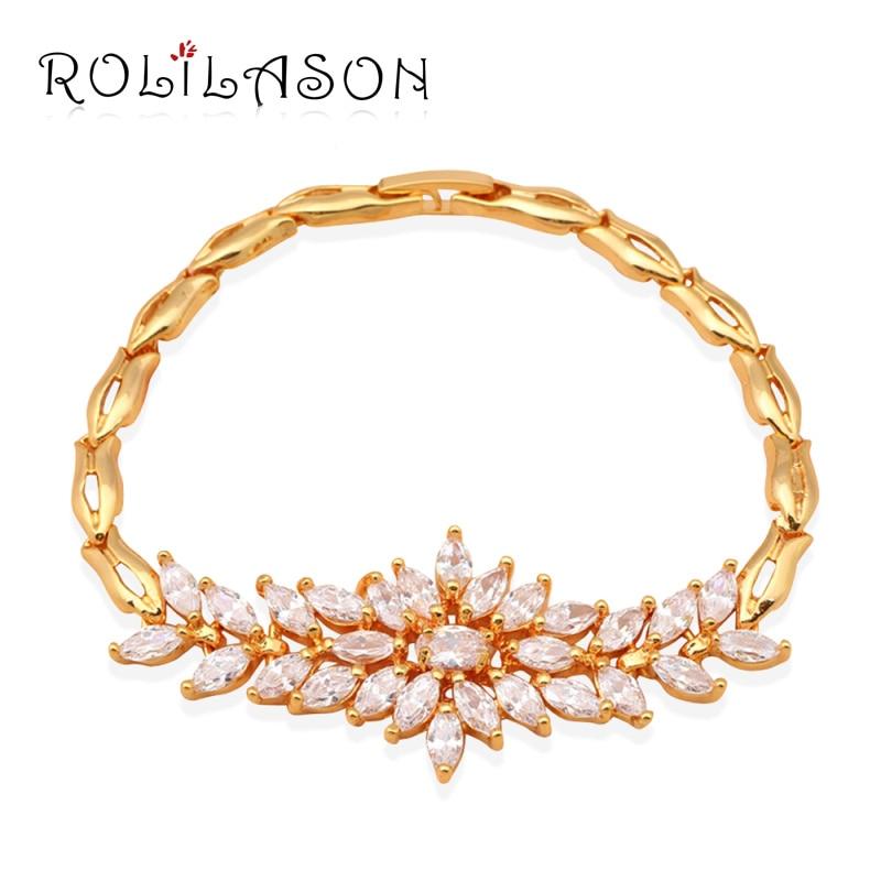 Wholesale retail yellow font b gold b font tone white Cubic zirconia Fashion font b Jewelry