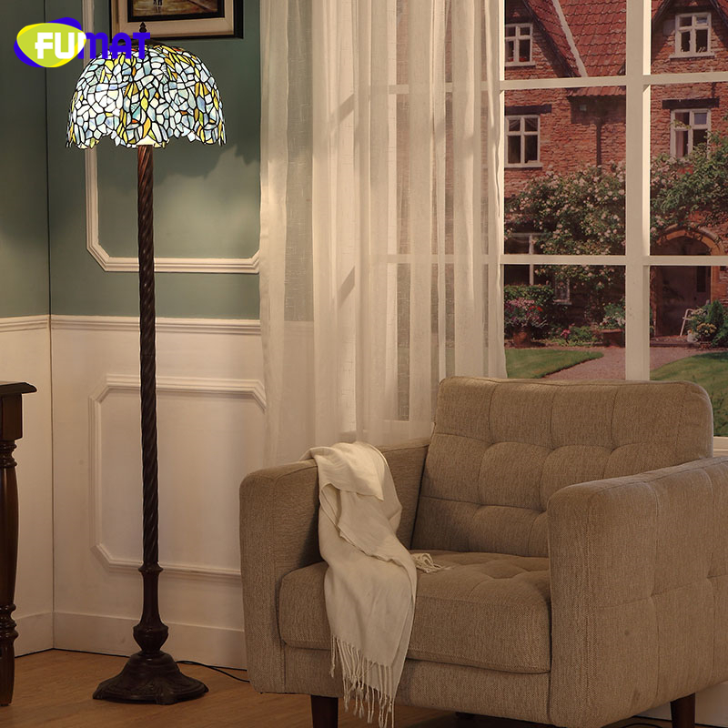 FUMAT Pastoral Wisteria LED Floor Lamp Home Decor Creative Stained Glass  Wisteria Glass Shade Stand Lights For Living Room