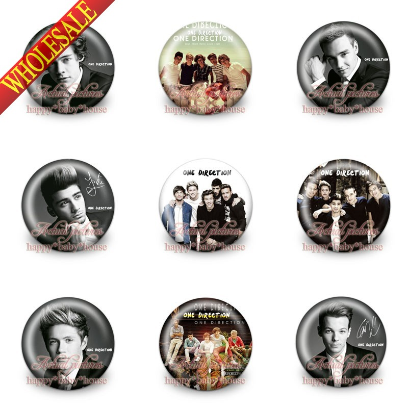 High Quality 9PCS One Direction Popular Band 30mm Diameter,Buttons Pins Badges Round Brooch Badges Kids Gifts Bags Accessories
