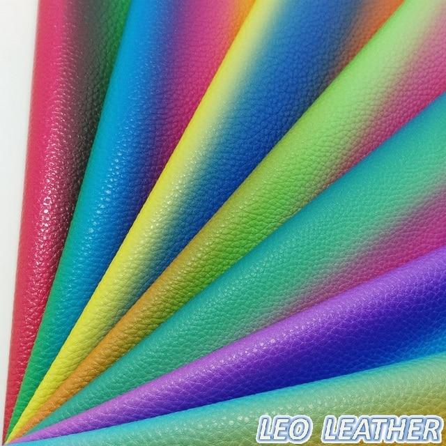 1 PCS 21X29 CM de Couro Sintético, Couro do PLUTÔNIO Em Relevo Lichia Grão Couro Rainbow Para DIY Acessórios 8S04A