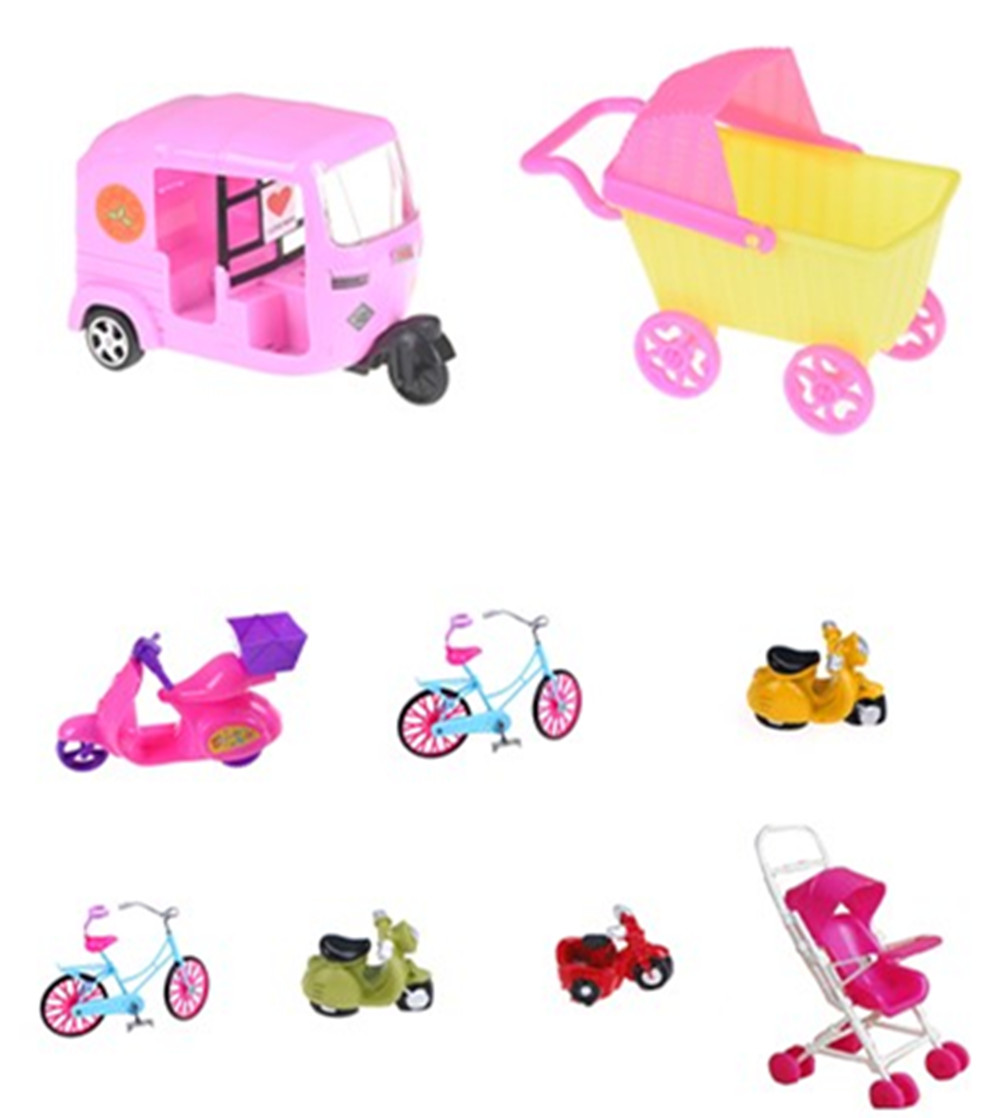 Car Toy Plastic Car Toy For Barbie Doll Dollhouse Miniature Furniture Plastic Stroller Bike Car Accessories