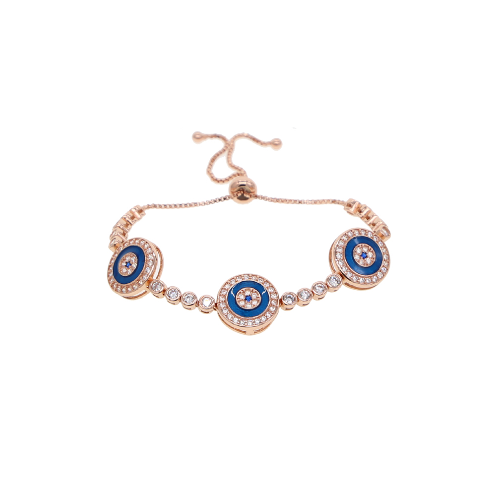Cubic Zirconia CZ Tiny Blue Evil Eye Charm Bracelet For Teen For Women 925 Sterling Silver Adjustable