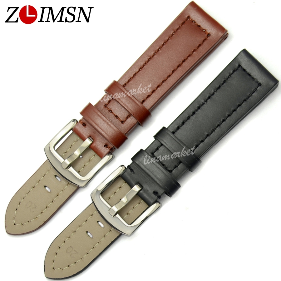 ZLIMSN Black Smooth Genuine Leather Watchbands Watches Strap 18 20 22 24 26mm Metal Buckle Watch Accessories Relojes Hombre B16 цена и фото