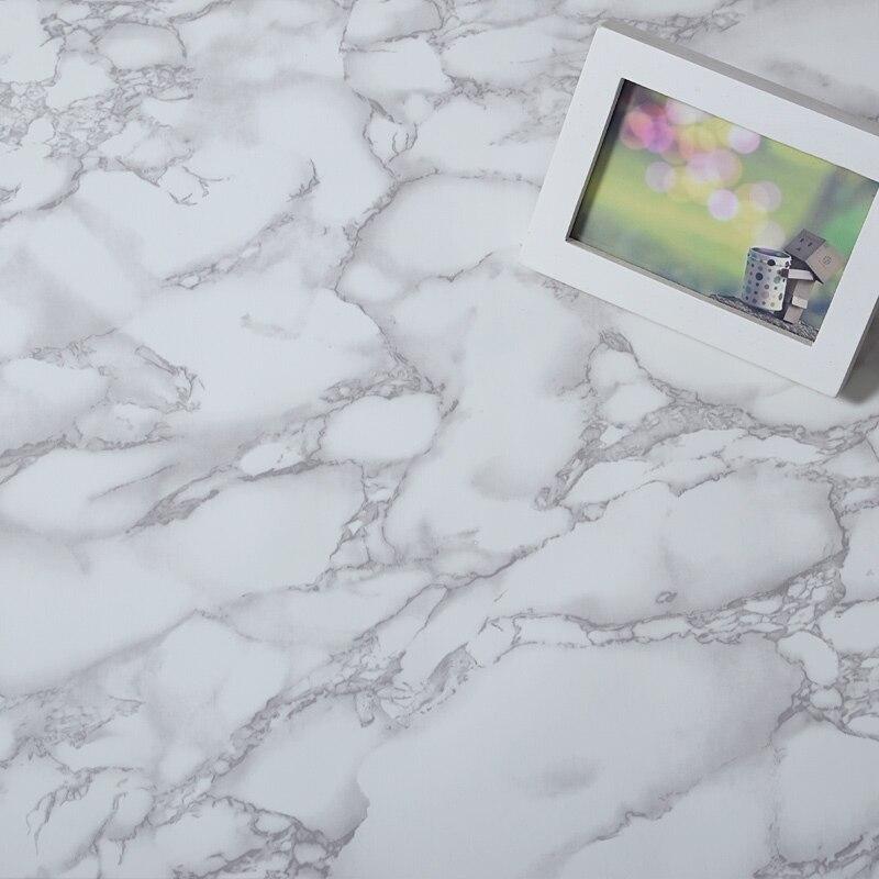 Gris et Blanc Étanche Marbre Grain Vinyle Auto-adhésif Papier Peint Autocollant Moderne Contacter Pape pour Cuisine Placard