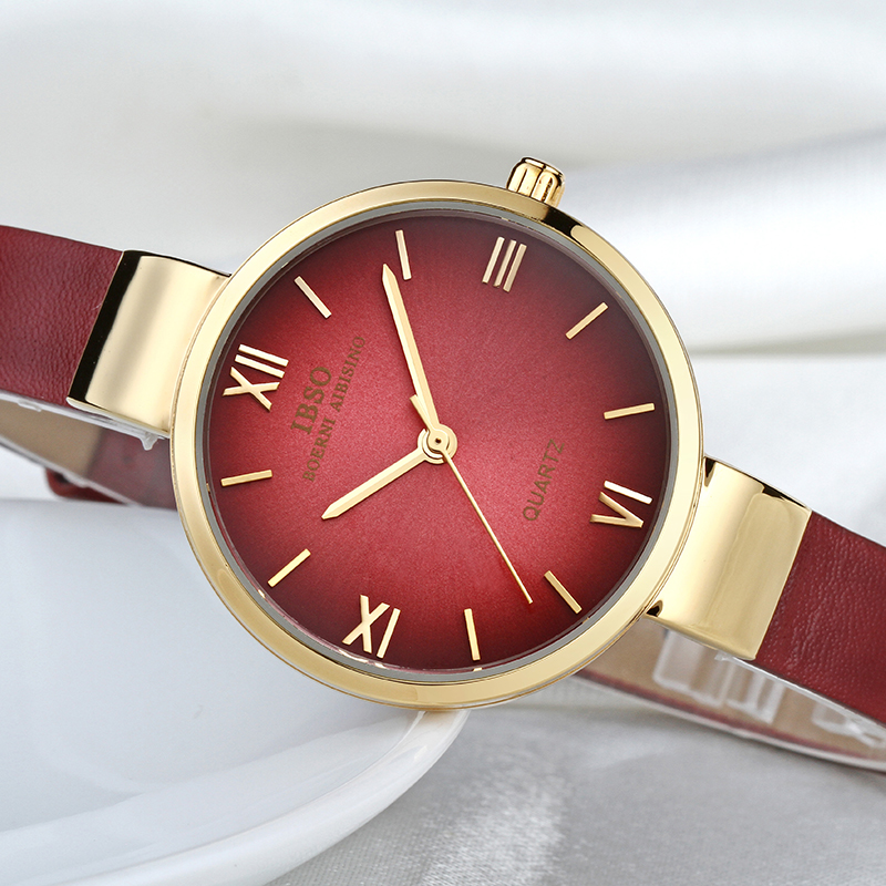 IBSO Top Brand Fashion Red Watch Kvinnor Äkta Läder Band Kvinnor Klockor 2018 Analog Quartz Armbandsur Vattentät Montre Femme