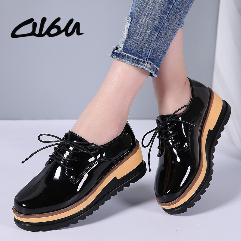O16U Women Oxfords Platform Shoes Flats Patent Leather Lace up Women causal Flat Shoes Designer Derby Shoes Fashion Creepers beffery 2018 british style patent leather flat shoes fashion thick bottom platform shoes for women lace up casual shoes a18a309