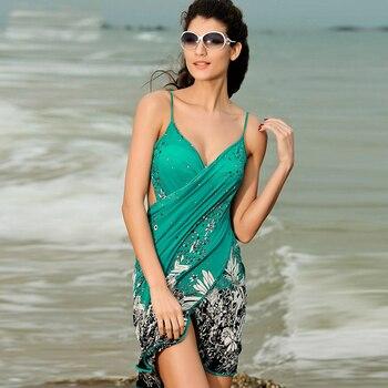 Beach Bikini Cover Up Holiday Beachwear Women Beach Dress Sexy Summer Green Chiffon Vestido 2019 New Sarong Wrap Pareo Swimwear