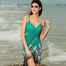 bd7a5687d0 Beach Bikini Cover Up Holiday Beachwear Women Beach Dress Sexy Summer Green  Chiffon Vestido 2019 New Sarong Wrap Pareo Swimwear