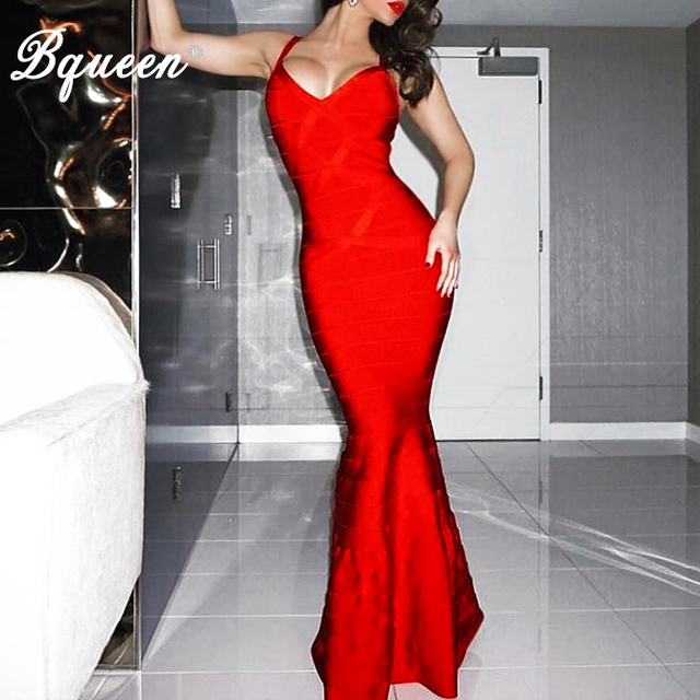 2cc09c57a0 Bqueen 2017 New Summer Women Red Black V-Neck Sleeveless Backless Fishtail  Long Wedding Evening Party Bandage Dresses Maxi Gown