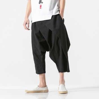Men Summer Fashion Casual Harem Pant Cotton Linen Cross Pants Male Streetwear Hip Hop Loose Trousers