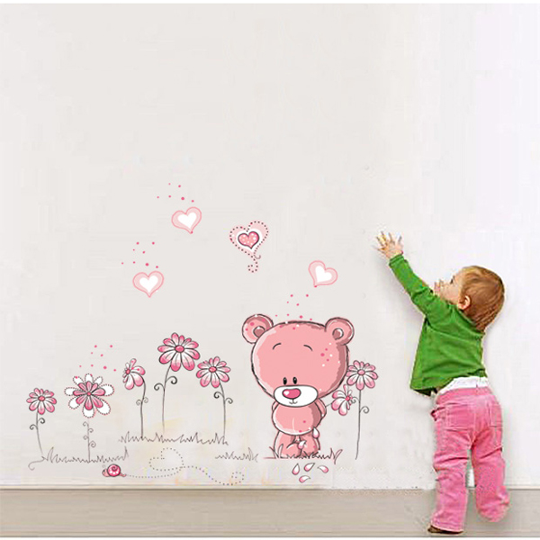 Pink bear nursery girl baby kids children bedroom art wall - Sticker chambre bebe fille ...