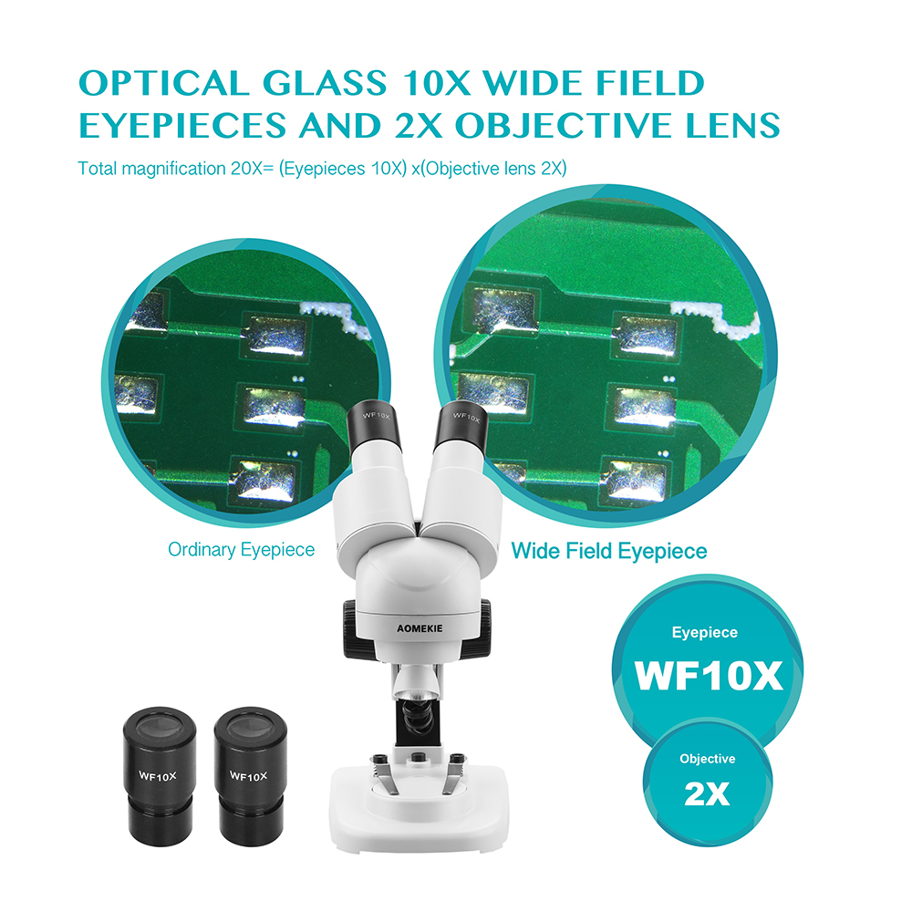 AOMEKIE 20X Lornetka Mikroskop stereoskopowy Góra LED HD Obraz PCB - Przyrządy pomiarowe - Zdjęcie 2