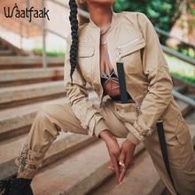 Waatfaak Outerwear Crop Bomber Jacket Women Patch Long Sleev