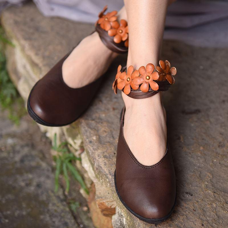 Noir Pour Cuir En Ballerines Chaussures D'origine Filles Mode La Fleurs De Appartements Décontracté Robe Artmu Femelle Femmes À Main marron 29EDHI